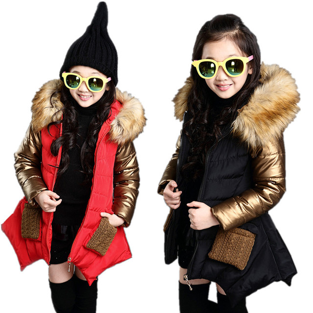 Winter Girls Fur Hoodies Down Jacket Coat Thicken padded Children Outerwear Clothes Costume Kids Parka Blazer Jackets For Girls