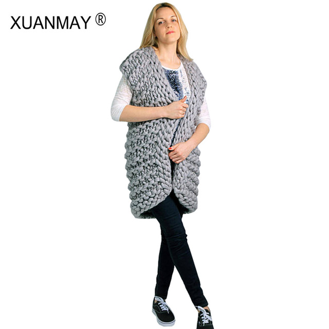 XUANMAY Handmade Sweater Customization Winter Thick Cardigan Sweater Vest  Shawl Coat Warm Large size 5XL Women s sweater 0444f6624