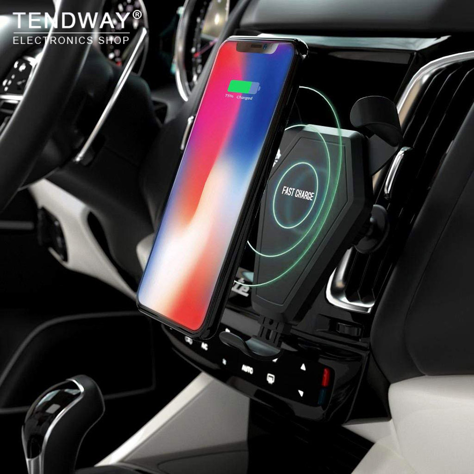Tendway Qi Fast Wireless Car Charger Qc 2.0 Quick Mobile Phone