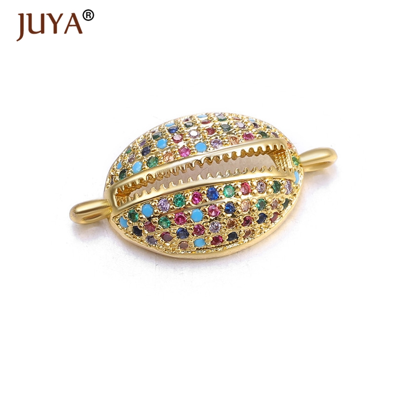 1 Piece 20*11mm Copper Inlay Zircon Shell Connector For DIY Handmade Makings Jewelry Findings Bracelet Accessories 2019 New
