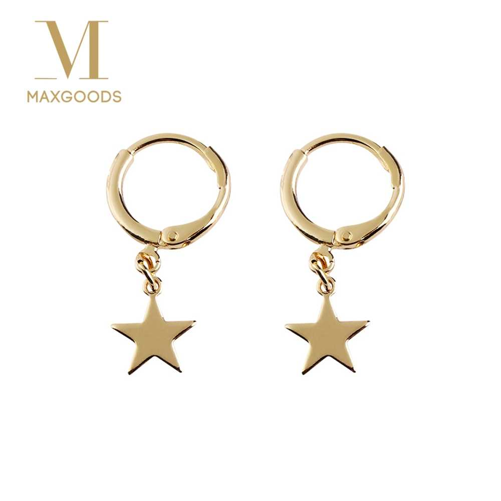 Trendy Gold Color Small Star Hoop Earrings for Women 2018 Ear Piercing Huggie Earrings Simple Charms Jewelry