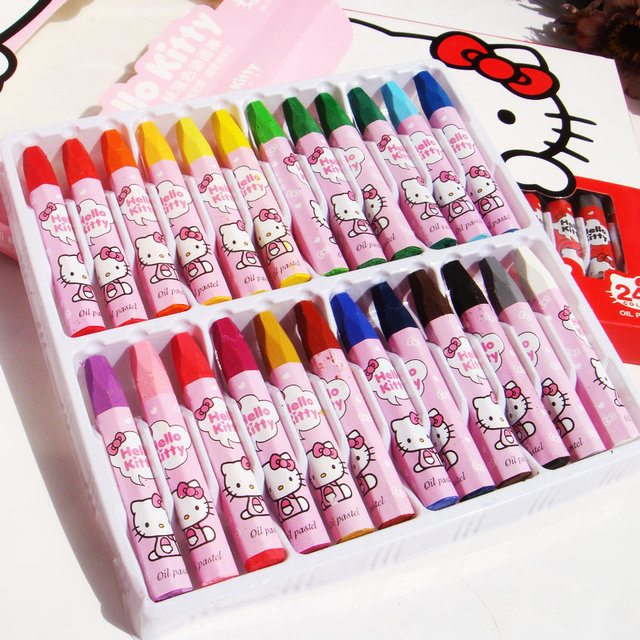 e76afe0b6 24 color Kawaii Wax Crayon Lovely Cartoon Hello Kitty Pen For Kids Painting  Drawing School Material students stationery supplies
