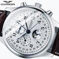 Автоматические механические мужские часы GUANQIN, изысканные брендовые водонепроницаемые часы с лунным календарем и кожаным ремешком