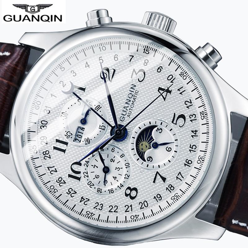 GUANQIN Automatic Sapphire Mechanical Men Watches Top Brand Luxury Waterproof date Calendar Moon Wrist watches Relogio Masculino