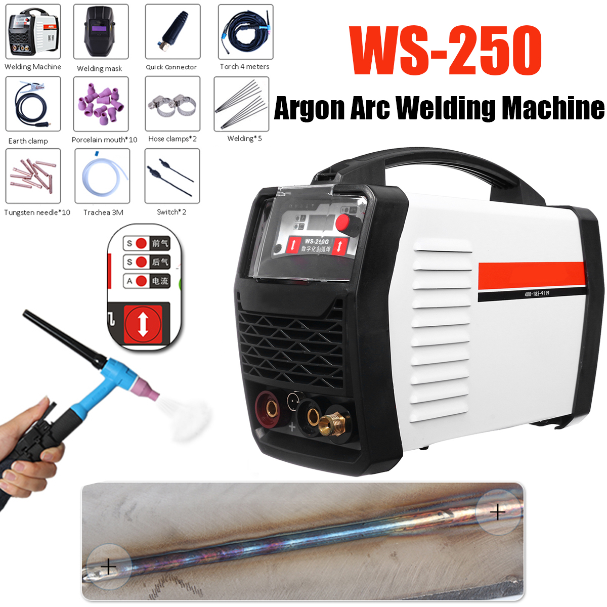 220V 250A LED Digital Argon Inverter Arc Welding Machine WS-250 MOS TIG MMA W elder for Welding 4 pcs lot wse tig inverter argon arc welding machine repair common four feet potentiometer ra113n b104 100 k ohms