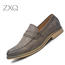 New Fashion Men Oxford Loafers Leather Moccasins Slip On Pointed Toe Casual Dress Men Shoes Trend Lazy Footwear