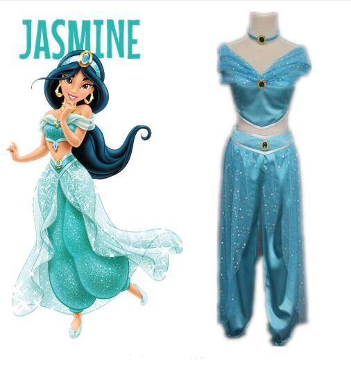 free shipping 2017 Aladdin Jasmine Princess Adult Kids Belly Dancer Cosplay Costume New S-2XL Принцесса Жасмин