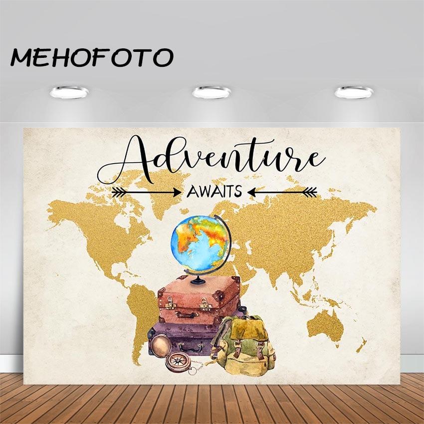 MEHOFOTOO фон для фотосъемки в путешествиях и приключенческих вечеринках о местах, где вы будете идти Приключения ожидает фотосъемки детский ду...