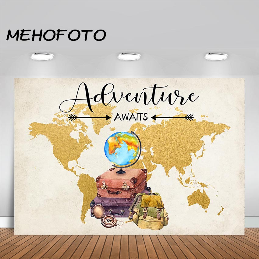 MEHOFOTOO Travel and Adventure Party Backdrop Oh The Places You'll Go Adventure Awaits Photography Background Baby Shower Party image
