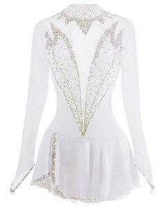 Белое платье для фигурного катания, ледяные юбки для конькобежцев, спандекс, сделано в Китае