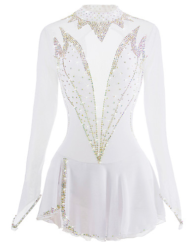 White Figure Skating Dress Long-Sleeved Ice Skating Skirt Spandex Made In China