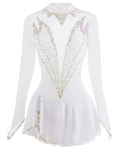 White Figure Skating Dress Long-Sleeved Ice Skirt Spandex Made In China