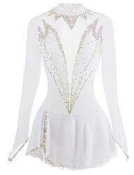White Figure Skating Dress Long-Sleeved Ice Skating Skirt Spandex Made In China