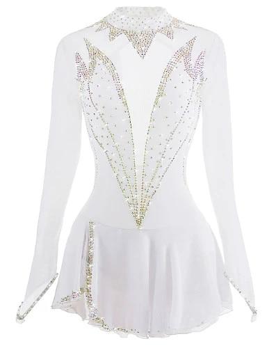 BINGHUOZHIWU White Figure Skating Dress Ice Skating Skirt Long-Sleeved Spandex