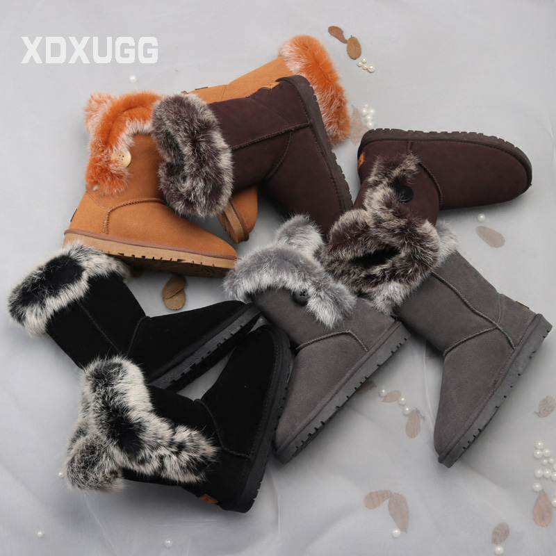 2018 New Australian snow boots thickening frosted shoes Shearling Fur boots winter tube rabbit hair snow cotton Warm Wool