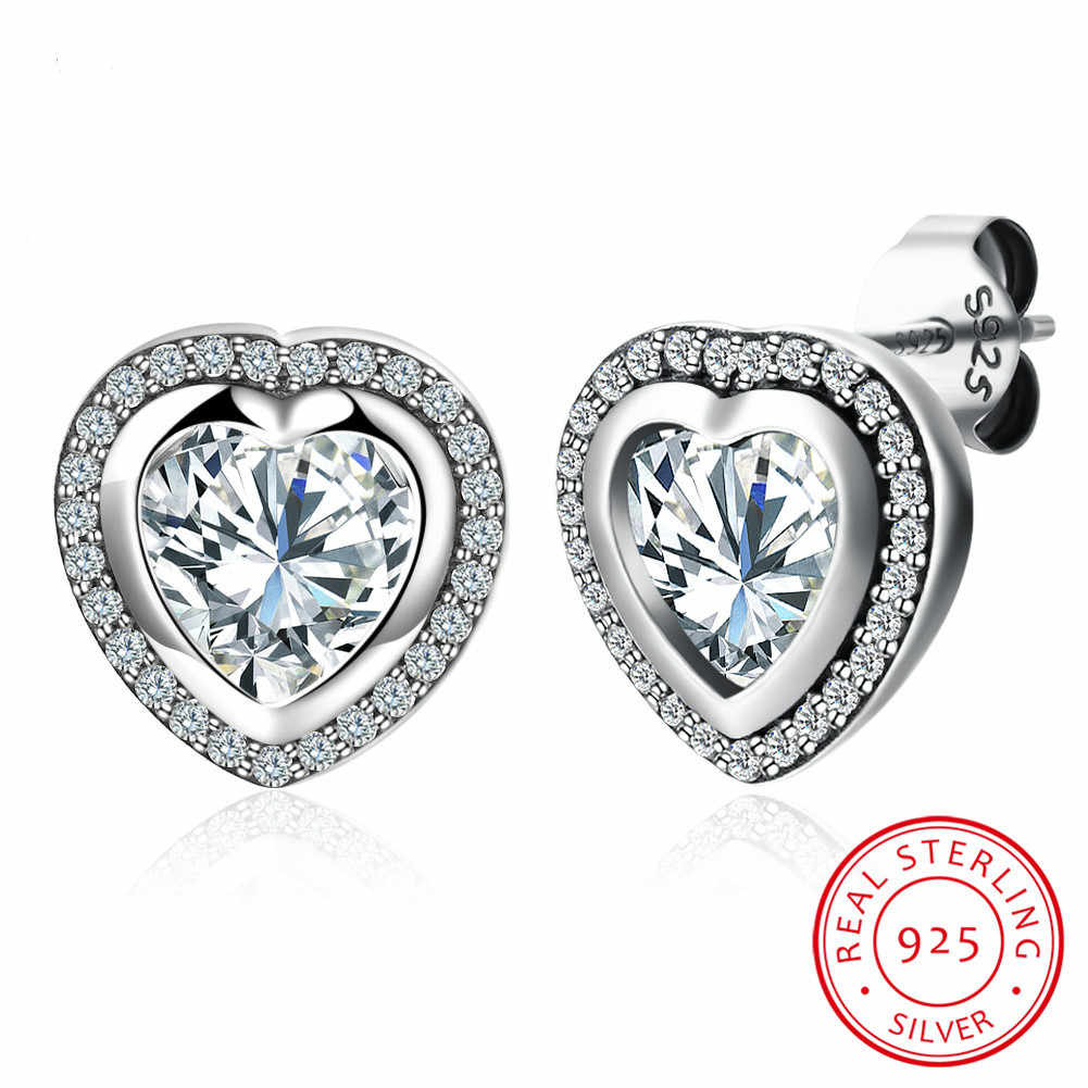 9b5ca8400 Original 925 Sterling Silver Sparkling Love pan Stud Earrings For Women  With Clear Cz Sterling-