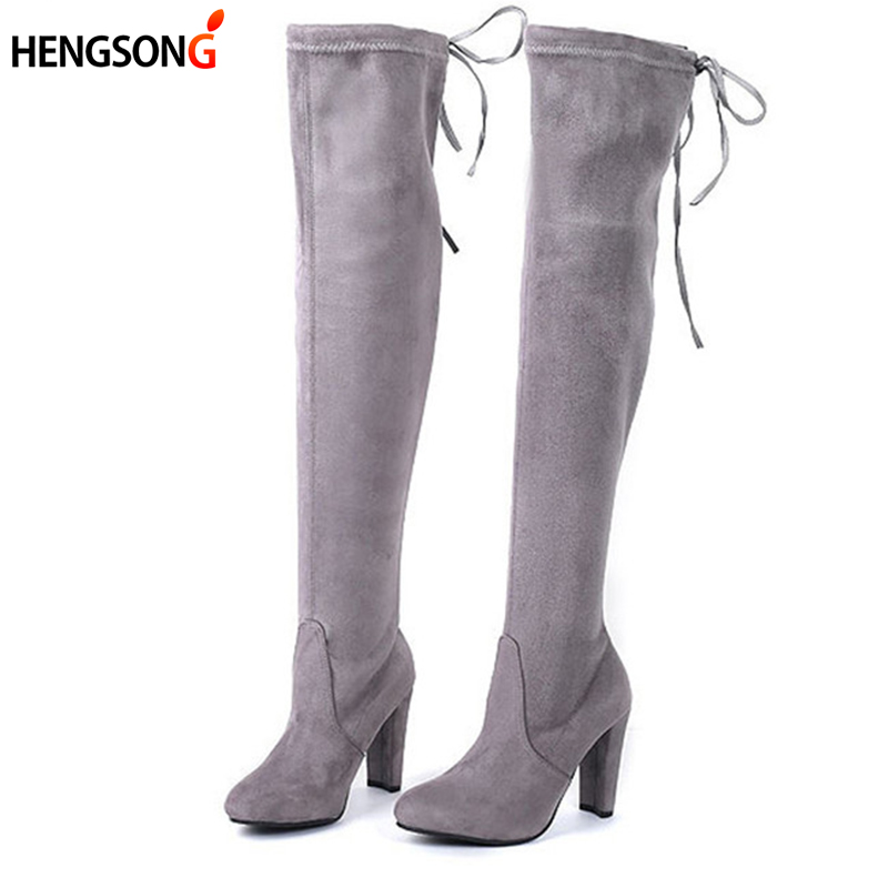 Faux Suede Women Over The Knee Boots Lace Up Sexy High Heels Shoes Woman Female Slim Thigh High Boots Botas Winter Shoes 34-43 yougolun ladies fashion thigh high over the knee boots woman autumn winter womens female sexy nubuck suede leather women shoes