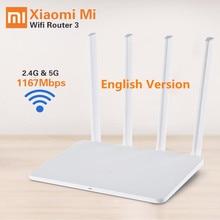 Оригинал Xiaomi Wi-Fi Маршрутизатор 3 Английская Версия Прошивки 1167 Мбит Wi-Fi Маршрутизаторы 2.4 Г/5 ГГц WiFi Ретранслятор Портативный wi-fi Маршрутизатор