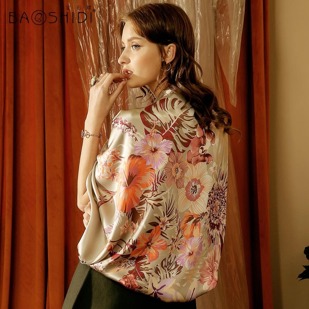BAOSHIDI 2017 Autumn New Arrival 16m m 100 silk satin scarf 106 106 Square Scarves