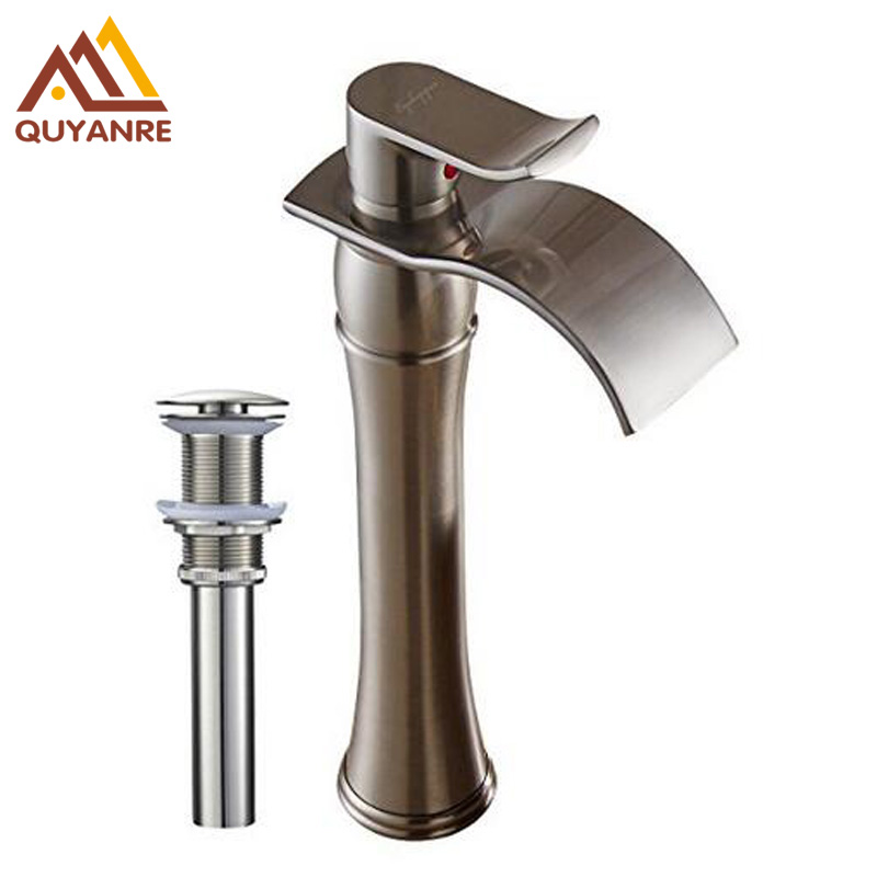 Brushed Nickle /Chrome Waterfall Spout Single Handle Bathroom Sink Vessel Faucet Basin Mixer Tap chrome finished bathroom sink tub faucet single handle waterfall spout mixer tap solid brass