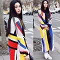Otoño suéter de la raya multicolor elegante diseño largo de la zanja prendas de vestir exteriores de la rebeca