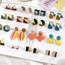 Korean Acrylic Square Triangle Oval Geometric Irregular Stud Earrings Collection Sets For Woman Girls Fashion Jewelry-DDE