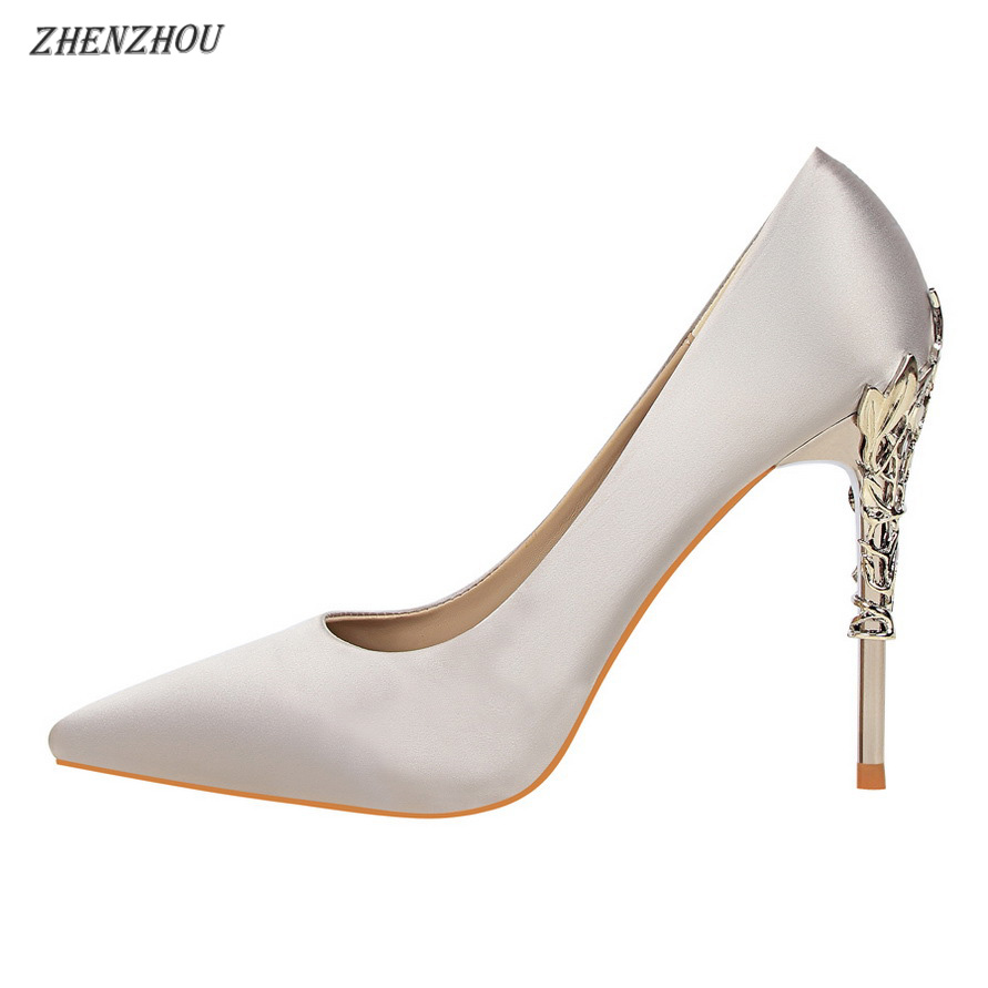 ff4ee78a5d41 Free shipping 13 colour SHOES Women Pumps 2018 fashion Red high heels 10 CM Women s  shoes Pointed heel metal decoration