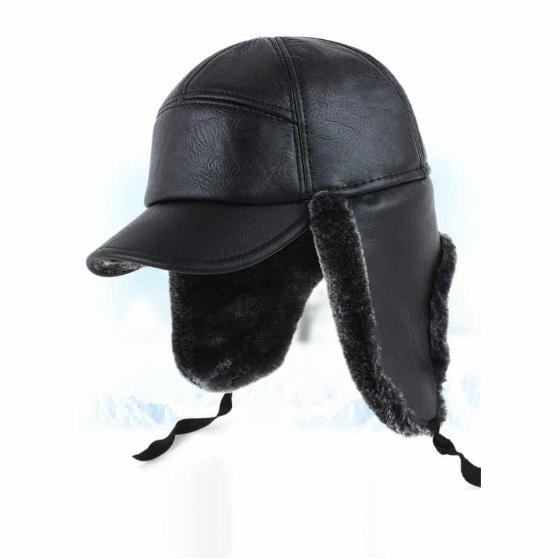 0bbed63490e Elder Leather Hat Female Winter Ear Protection Cap Men s Winter Warm  Windproof Cap Father Winter Cotton