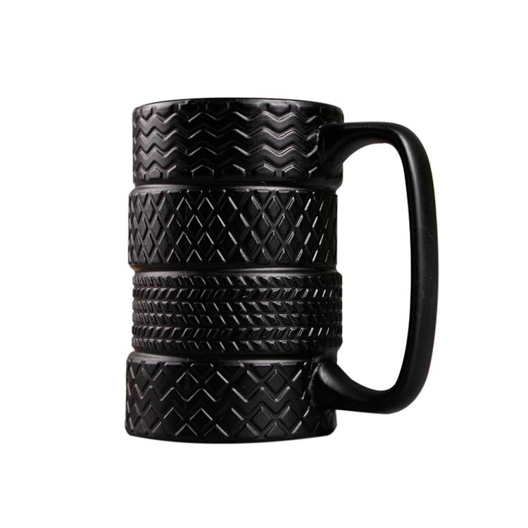 300ml Creative Tire Style Mugs Large Capacity Ceramic Mack Cups Personality Milk Tea Coffee Mug Non-slip Office / Home Water Cup