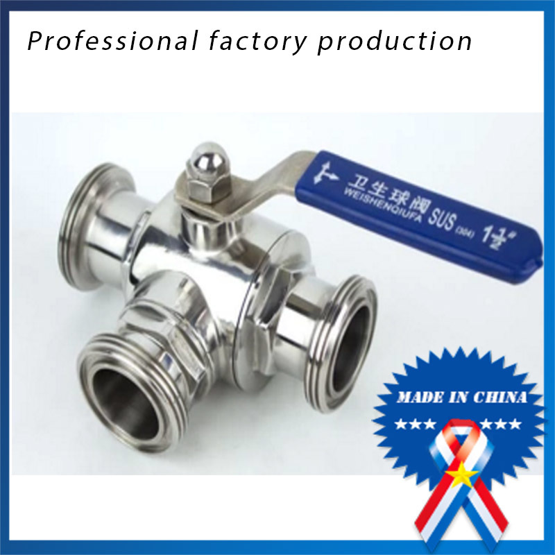 3/4 inch Sanitary Stainless Steel Food Grade Three - way Ball Valve 1 1 4 dn25 sanitary stainless steel ball valve 2 way 316 quick installed food grade manualball valve handle straight way valve