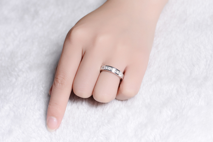 ZOCAI Nyata 18 K emas putih 0.9 ct bersertifikat asli berlian - Perhiasan bagus - Foto 5