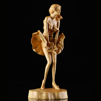 Chinese Boxwood Wooden Sculpture – Like Marilyn Monroe