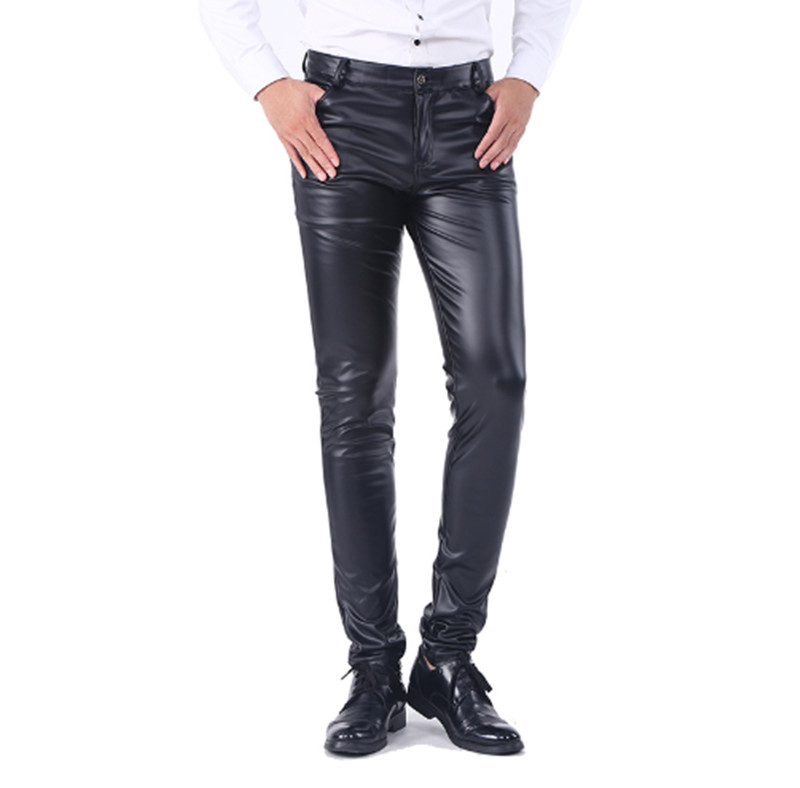 2019 New style fashion Men`s Business Slim Fit Five Pockets Stretchy Comfy Black Solid Faux Leather Pants Jeans Trousers For Men