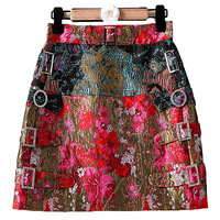 XF 2018 Latest Fashion Designer Runway Summer Half Skirt Oil Painting + Rose Print Jacquard Bag Hip Short Half Skirt