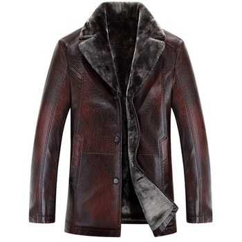 Men leather jackets New arrival Winter brand plus Velvet thick Warm Motorcycle Business Casual Mens Leather Jackets coats 1