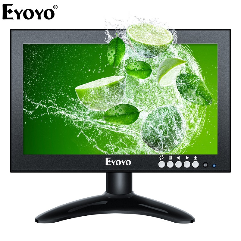 Eyoyo EM08G 8 inch Small HDMI LCD Monitor Portable 1280x720 16:9 IPS Metal Housing Screen Support HDMI/VGA/AV/BNC Input for CCTV lp089ws1 lcd screen 8 9 inch