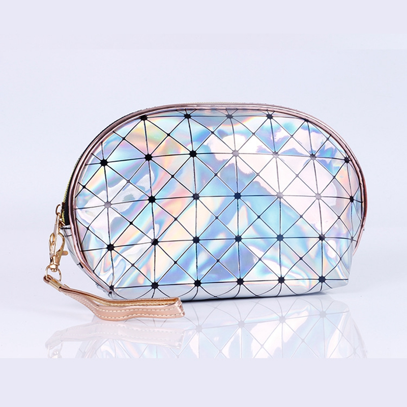 Fashion Laser Cosmetic Bag PU Leather Travel Functional Waterproof Organizer Zipper Makeup Case Pouch Women Make Up Toiletry Kit