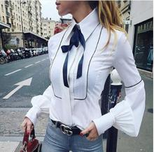 New Spring South Korean Womens Clothing Long Sleeve Solid Color Office Shirt Female Bowknot Slim Blouses