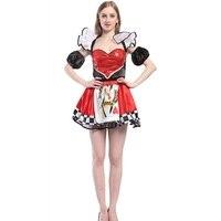 Женская покер Хеллоуин костюм красный Queen сердец костюм платье покер девушка нарядное платье Косплэй партии Queen костюм костюмы
