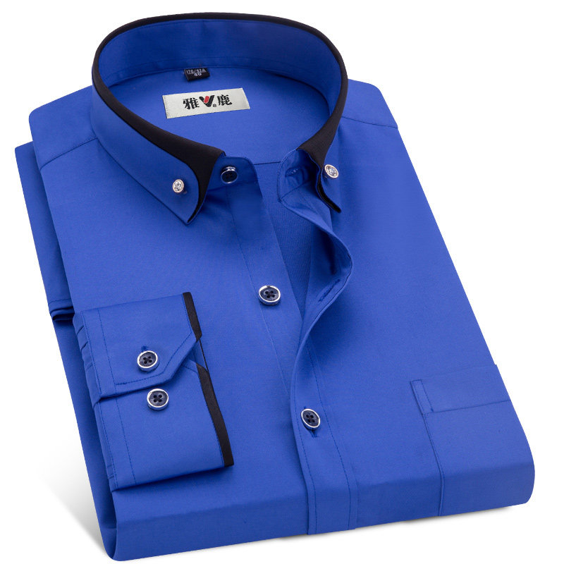 MACROSEA Men's Business Dress Shirts Male Formal Button-Down Collar Shirt Fashion Style Spring&Autumn Men's Casual Shirt 1