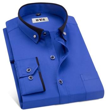 MACROSEA Spring&Autumn Men's Business Dress Shirts Male Formal Button-Down  Collar Shirt Fashion Style Men's Casual Dress Shirt 1
