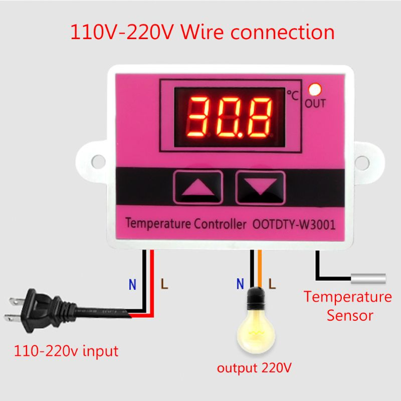 W3001 Temperature Controller AC110-220V Microcomputer Thermostat Switch Digital LED Display