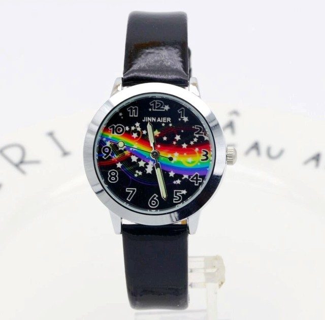 New arrive fashion boys and girls Starry sky dial leather watch cute star and ra