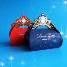 赤結婚式の好意ボックス 100 個の結婚式のキャンディーボックスラインストーン紙ギフトボックスクリスマスチョコレートボックスベビーシャワーの誕生日パーティー