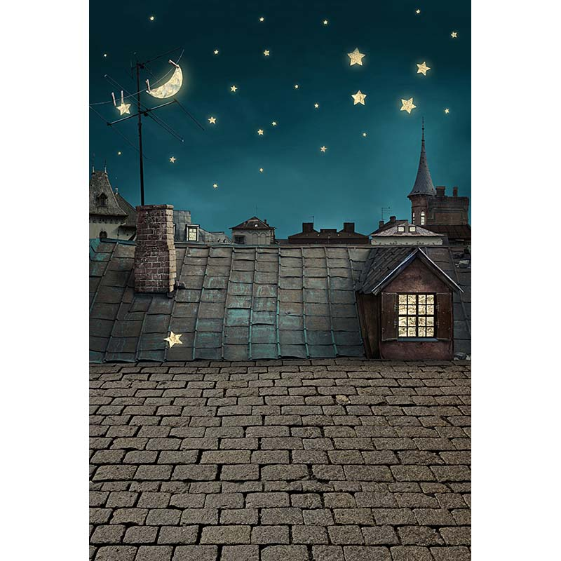 Vinyl cloth cartoon moon stars night house roof photo studio background for kids stage portrait photography backdrops CM-5393 customize vinyl cloth print 3 d night city scenery wallpaper photo studio background for portrait photography backdrops cm 5883