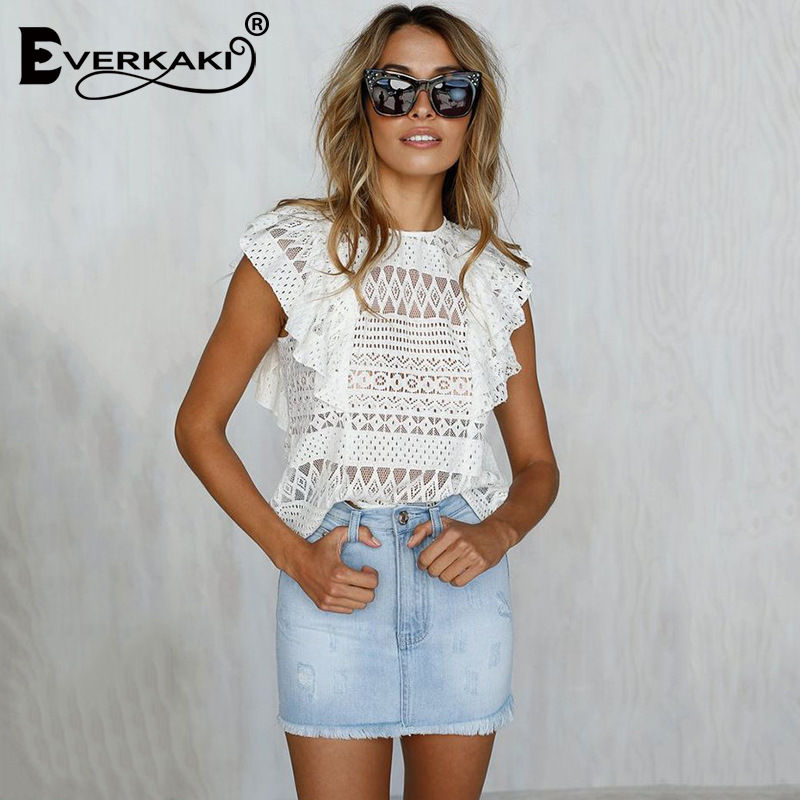 Sexy lace hollow out ladies vest top womens tops and blouses fashion voile women blouses