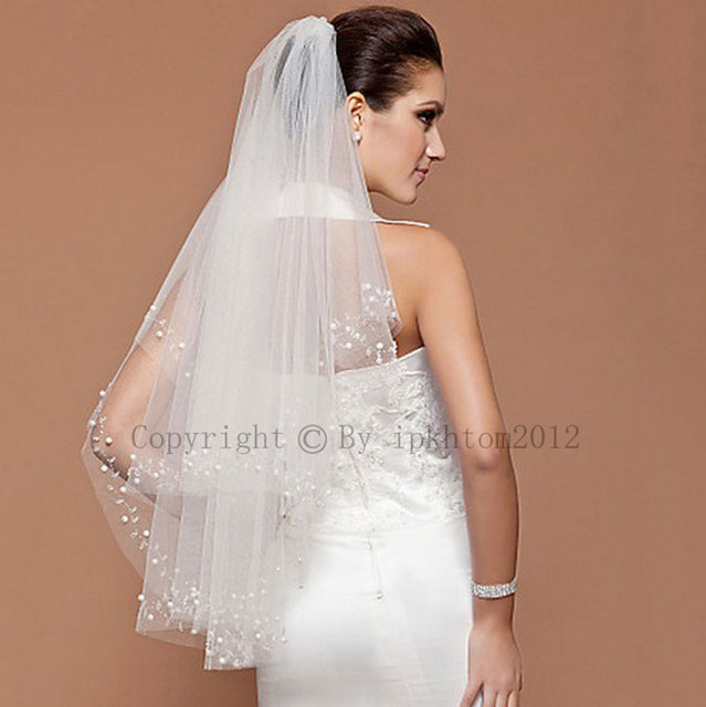 Wholesale Layer 2 White Fingertip Beaded Bridal veil Wedding Accessories Veils With Comb