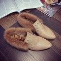 2016 Мода Мокасины Меховые Ботинки Женщин Обувь Женская Тапочки Квартиры женский Скольжения на PU Кожа Плюшевые Квартиры для Женщин Качества F537