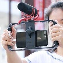 울란지 스마트 폰 비디오 조작 장치 안정기 케이스 영화 제작 녹음 블로깅 기어 for iPhone XR XS Max 안드로이드 삼각대 마운트 스탠드