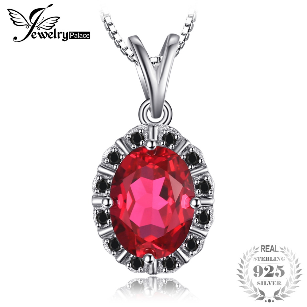 Classic 1.82ct Created Ruby & Black Spinel Pendant 925 Sterling Silver Fine Jewelry For Women Not Include A Chain